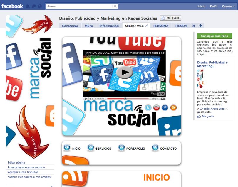Mercado y publicidad con página de Facebook like o fan page-Marca Social