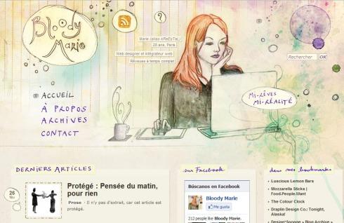 pagina tipo blog con imagen digitalizada hecha a mano